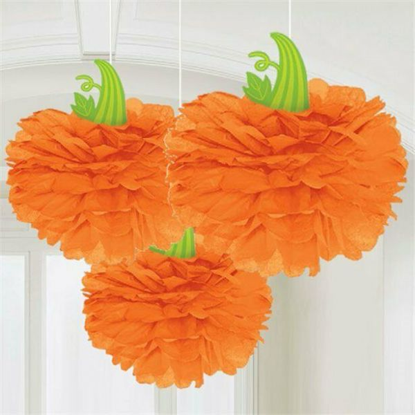Halloween Pumpkin Pom Pom Decorations - 40cm (3 pk)